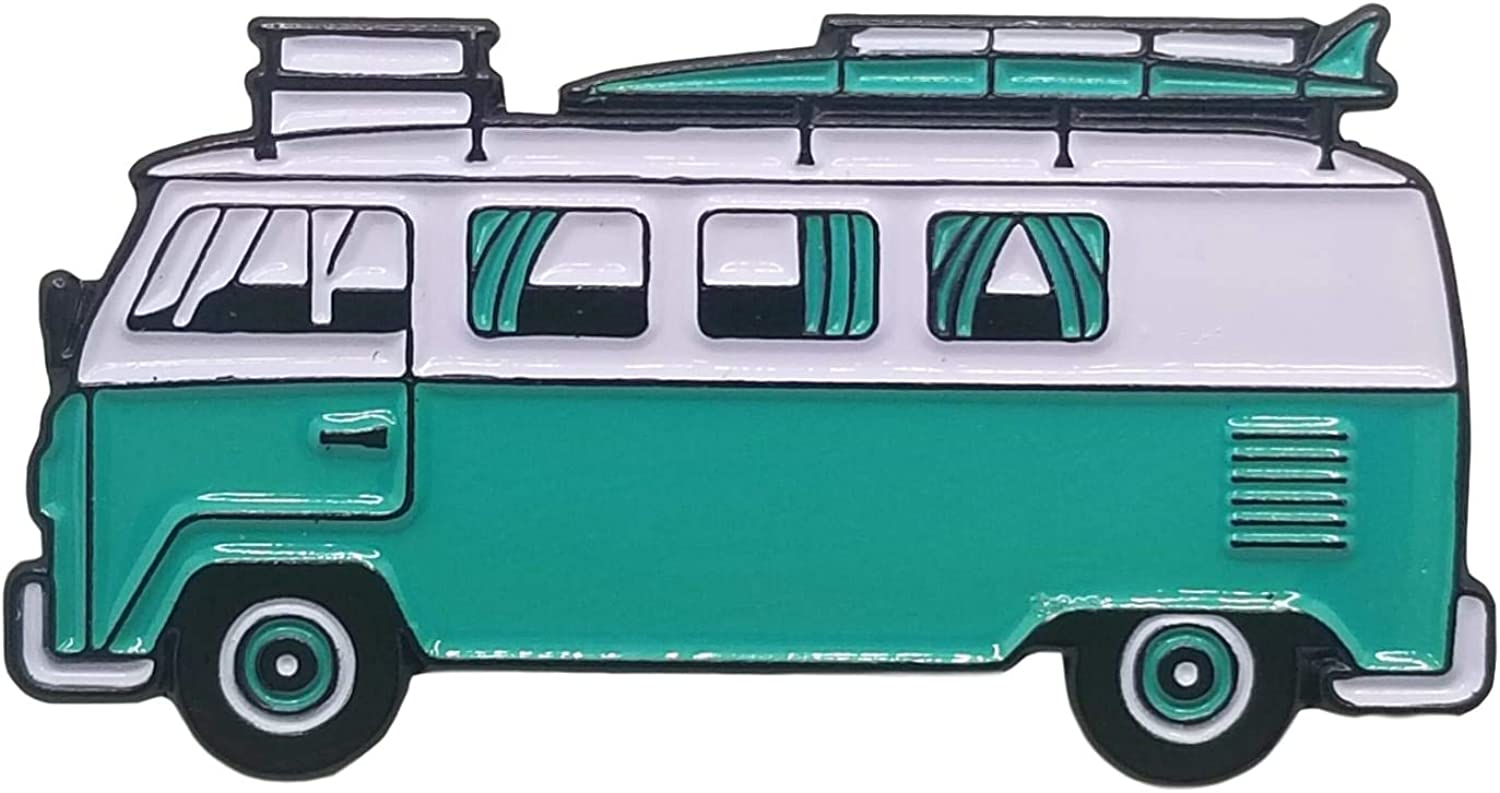 Stickeroonie Enamel Pin- Surf Van Happy NEW before selling Bus Our shop OFFers the best service Aq Pin Camper