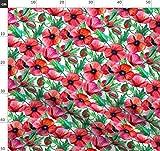 Wasserfarben, Mohn, Botanisch, Rot, Weiß Stoffe -