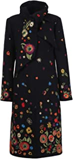 IVKO Boiled Wool Coat with Embroidery in Black