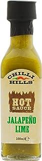 Chilli Hills Salsa picante artesanal JALAPEÑO y lima. hecha con los mejores chiles, cultivados en nuestro huerto familiar. Natural, sin OMG ni gluten, vegana. Botellita de cristal de viaje - 100 ml