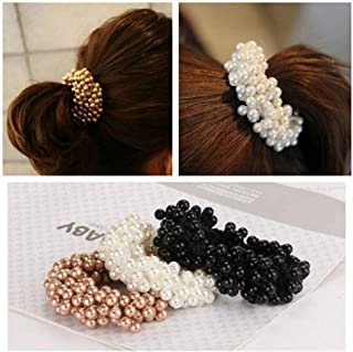 Aysekone 3 Pack Fashion Imitation Pearl Beads Elastic Hair Bands Hair Rings Scrunchies Ponytail Holders Hair Accessories for Women Girls