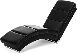 mecor Relaxliege Wohnzimmer Liegestuhl Leder Relaxsessel 158 x 50 x 72cm Morderner Chaiselongue Loungesessel schwarz