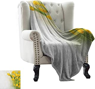 Travel Blanket Yellow Flower,Romantic Tulip Bouquet Famous Plant of Netherlands Botanical Theme, Mustard Fern Green for Bed & Couch Sofa Easy Care 60