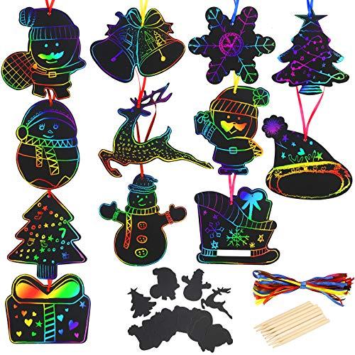 LAITER 48 PCS Scratch Art Natale Cappello Natale Pupazzo Neve Alce Diversi Tipi Colorato Graffio Natalizio Decorazioni Appeso da Porta Finestra Albero Segnalibro Artigianato Fai da Te Regalo