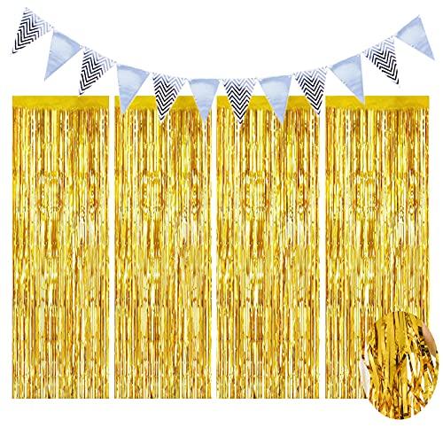 Set di 5 tende in metallo di Frange & Striscione tende Shimmer fondali decorazione per compleanno, Halloween, Natale, matrimonio, laurea festa, colore: oro
