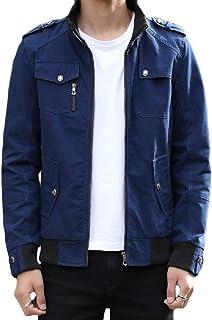 Mogogo Men's Autumn Stand Collar Cotton Outwear Jacket Windbreakers