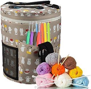 Cassiela Nadel Wolle Box DIY Zylinder H/äkeln Wolle Aufbewahrungs Eimer Leinwand Aufbewahrungs Tasche Gro/ße Kapazit/ät Tragbar
