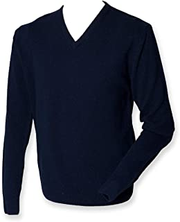 Henbury Men's Lambswool V Neck Long Sleeve Sweater
