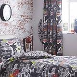 Kidz Club Bleistiftfaltenvorhänge, gebrauchsfertig, gesäumt, Skateboard-Design, 168x 183cm, Grau, 2 Stück