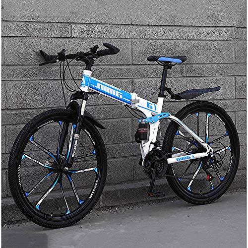 24 Pulgadas Bicicletas De Montaña,Plegable 21/24/27/30 Velocidad Absorción De Choque Doble De Velocidad Variable Bicicleta De Montaña Adecuado para Hombres Y Mujeres Estudiantes,N,30 Speed