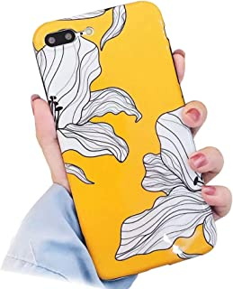 BONTOUJOUR iPhone XR Phone Case, Beautiful Art Flower Pattern Serie Vintage Rose Flower Cover Case Soft TPU 360 Degree Good Protection- Yellow Flower