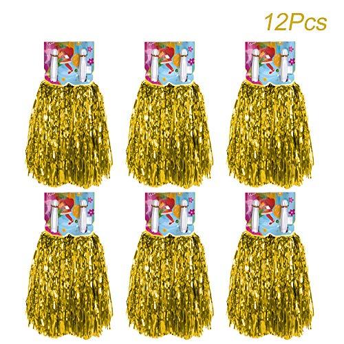 Creatiees 12 Stücke Cheerleading Pom Pom mit Baton Griff, Cheerleading Pompons Cheerleader Puschel Tanzpuschel für Ball Tanzen Schick Kleid Nacht Party Sports(Gold)