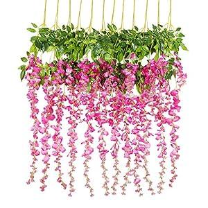 Luyue 3.6 Feet Artificial Silk Wisteria Vine Ratta Silk Hanging Flower Wedding Decor, 12 Pieces (Fuchsia)