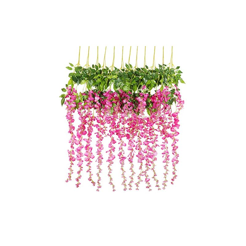 silk flower arrangements luyue 3.6 feet artificial silk wisteria vine ratta silk hanging flower wedding decor, 12 pieces (fuchsia)