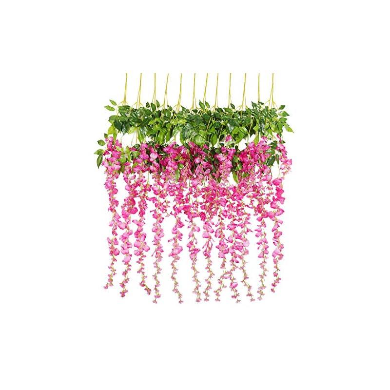 silk flower arrangements luyue 3.18 feet artificial silk wisteria vine ratta silk hanging flower wedding decor,6 pieces
