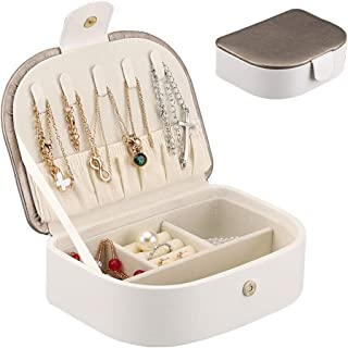 صندوق تخزين المجوهرات للسفر صندوق المجوهرات ، للنساء حجم السفر صندوق المجوهرات ، صندوق تخزين مجوهرات من الجلد الصناعي للسف...
