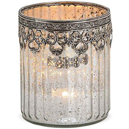 matches21 Windlicht Kerzenglas Glas Teelichtglas Orientalisch Marokko Design Silber antik Metalldekor 1 STK Ø 10x12 cm