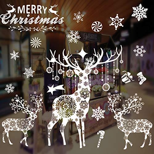 AivaToba Fensterbilder Weihnachten Kinder Selbstklebend, Fnstersticker Weihnacht Fensterbilder Winter,Fensterdeko Statisch Haftende PVC Aufklebe,Wiederverwendbar Schneeflocken Fensterbild
