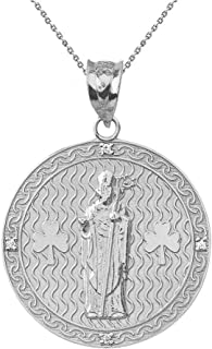 "Sterling Silver Saint Patrick Shamrock Medallion CZ Round Medal Necklace (1.15"")"