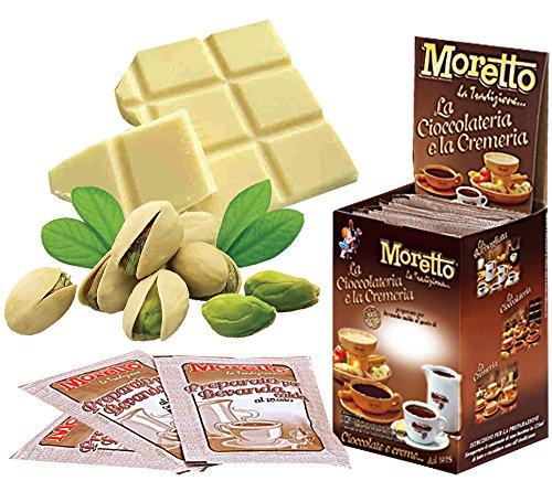 Cioccolata calda in tazza - MORETTO - gusto CIOCCOLATA BIANCA CON PISTACCHI - 1 scatola con 12 bustine