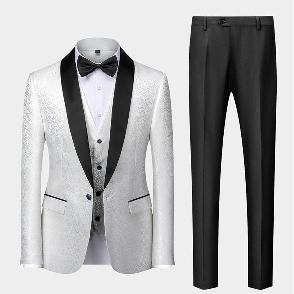 UXZDX (Suit + Vest + Pants New Men's Business Casual Suit Suit Korean Version Slim Wedding Suit Men Printed Three-Piece (Color : White, Size : 3XL 74-80kg)