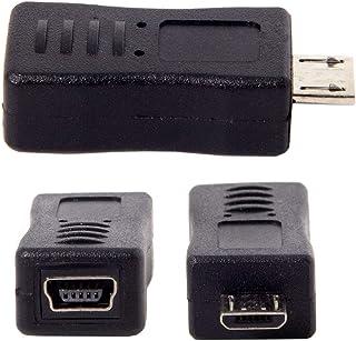 2 قطعة صغيرة USB ذكر إلى cablecc مايكرو USB 5 بن أنثى وأنثى صغيرة إلى cablecc محول تمديد ذكر صغير أسود