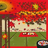 FUROSHIKI- Japanese Wrapping Cloth (Sketches of Cat : Maple trees in Japan)