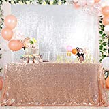Sparkly Rose Gold Sparkly Sequin Glamorous Tablecloth/Backdrop Wedding Party Decoratio (50x50 inch, Rose Gold-tablecloths)