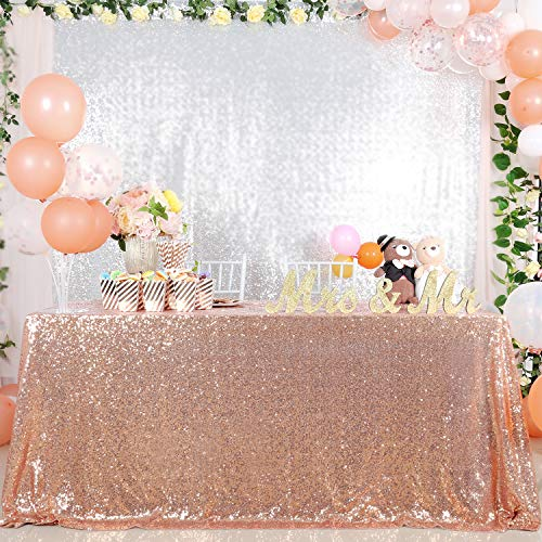Sequined Tablecloth 60x102-in Rose Gold Sparkly Sequin Fabric Wedding Luxury Table Cover