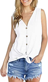 SEHOO Women's V Neck Tank Tops Sleeveless Henley Shirts Button Down Tie Knot Summer Blouses