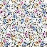 Fabulous Fabrics Chiffon Stockrosen – blau/rosa —