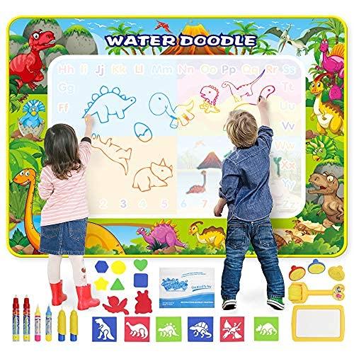 Tappetino da Disegno Doodle Tappeto Magic 160*120CM Super Grande Tappetino per pittura con 6 Penne Magiche, 6 Stampi e Strumento Timbro, Tappeto per Acqua Magica, Giocattoli educativi per Bambini