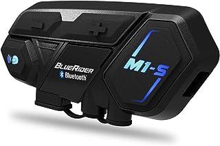 Bluerider バイク インカム M1-S 最大8人同時通話 Bluetooth4.1 強い互換性 連続使用20時間 日本語音声案内 マルチデバイス接続 インターコム 防水 HI-FI音質 Siri/S-voice ワイヤレス 2種類マイク...