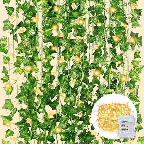CQURE 12 Pack 84Ft Artificial Ivy Garland,Fake Ivy Garland Vines Green Leaves Hanging Vine Fake Plants with 120 LEDs outdoor String Lights for Wedding Party Garden Wall Decoration