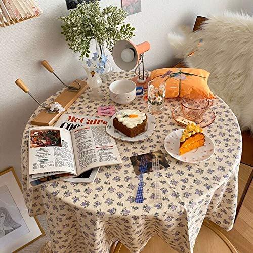 CRTTRC Korea ins Blumentischtuch Baumwolltuch Fotografie Kulissen Esstisch Abdeckung Korea Chic Picknick Tischdecke (Color : Blau, Specification : 70x100cm)