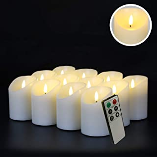 Eywamage Flameless Pillar Candles with Remote Timer Flickering Real Wax LED Votive Candles Battery Operated Ivory D 3