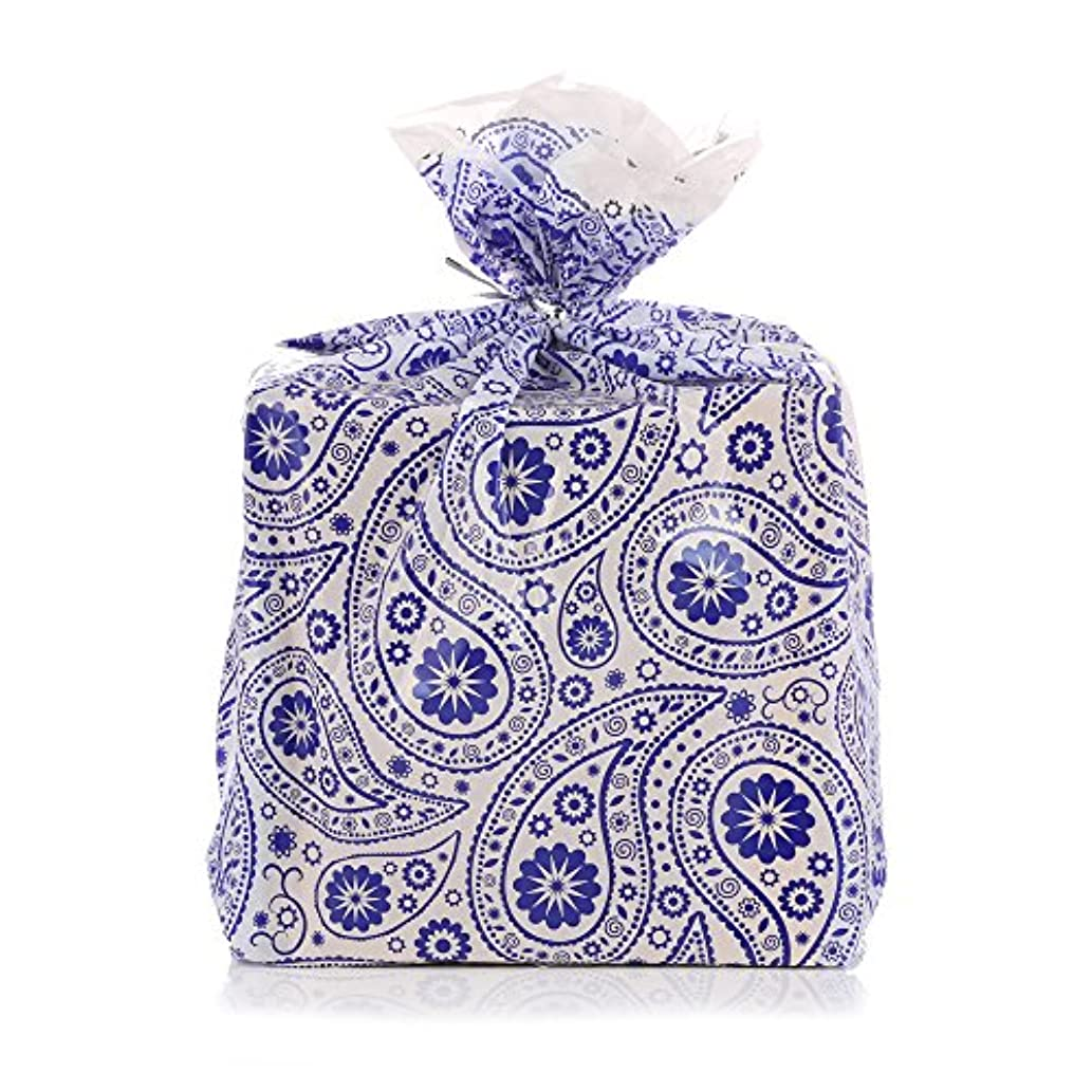 Reusable Blue Paisley Plastic Gift Wrap Bags - Reuse as Pretty Trash Bags - 10 Count - 21