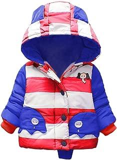 Lingery Children Kids Winter Cartoon Warm Patchwork Color Zipper Jacket Hooded Coat