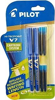 Pilot V7 Hi-tecpoint Roller ball pen with Cartridge System - 2 Blue Pens, 4 cartridges