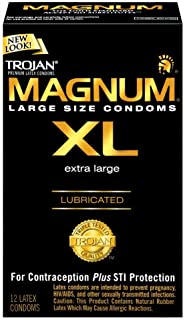 TROJAN Magnum XL Lubricated Premium Latex Condoms 12 Each