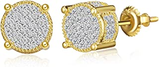 Iced Out Cubic Zirconia Screw Back 18k Gold Plated Round...