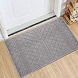 Indoor Doormat 24'x 36' Absorbent Front Door Mat Rubber Backing Non Slip Door Mats Inside Dirt Trapper Mats Entrance Front Door Rug Shoes Mat Machine Washable Carpet (Grey)