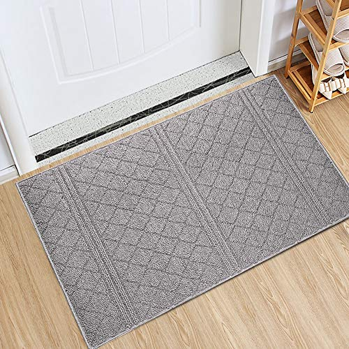 "Indoor Doormat 24""x 36"" Absorbent Front Door Mat Rubber Backing Non Slip Door Mats Inside Dirt Trapper Mats Entrance Front Door Rug Shoes Mat Machine Washable Carpet (Grey)"