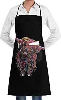 Lao Yang Mai Colorful Scottish Highland Cow Art BBQ Waiter Housekeeper Pet Grooming Bartender Kitchen Beautician Hairstylist Nail Salon Carpenter Decorations Ornament Theme Stuff Apron Accessories