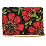 Mary Frances Wallflower Beaded Crossbody Clutch Handbag, Red