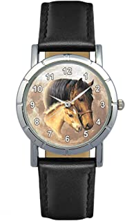 Timest - Horse with Foal - Womens Wrist Watch with Leather Strap in Black Round Analog Quartz SA1801