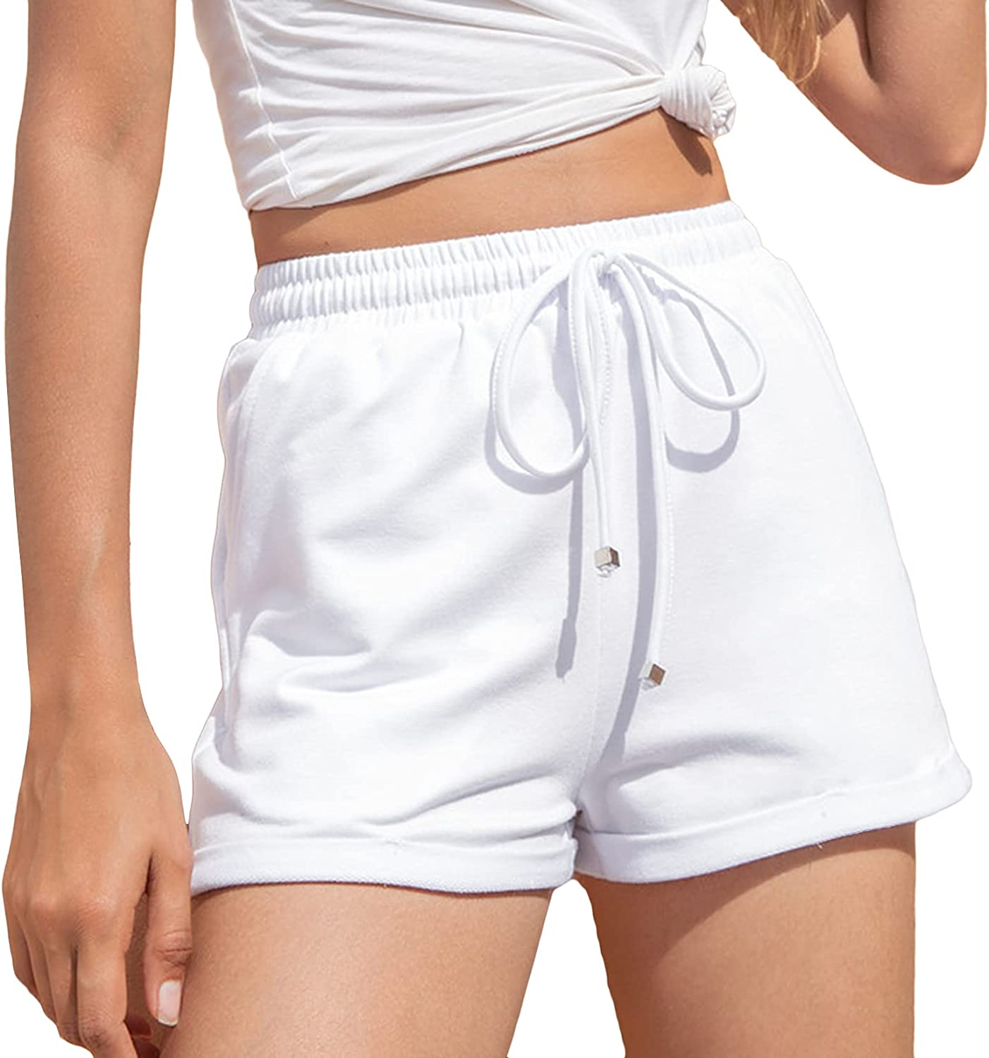 Lu's Chic Women's High Waisted Shorts Athletic Workout Drawstring Lounge Casual Sweat Shorts
