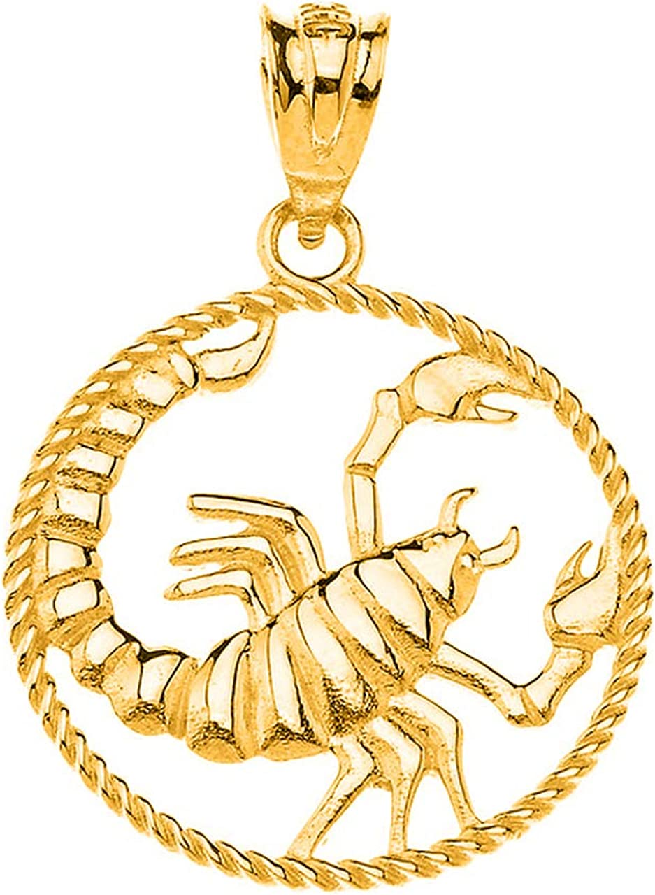 Certified 14k Yellow Gold Round Zodiac Sign Horoscope Constellation Rope-Style Charm Pendant