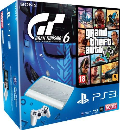 Console PS3 500 Go blanche + Gran Turismo 6 + GTA V