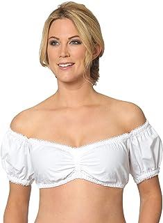 Mxssi Trachtenbluse, Damen Trachten Dirndlbluse mit Baumwollmischung, Damen Schulterfrei Trachten Dirndl Bluse für Oktoberfest Weiß Schwarz